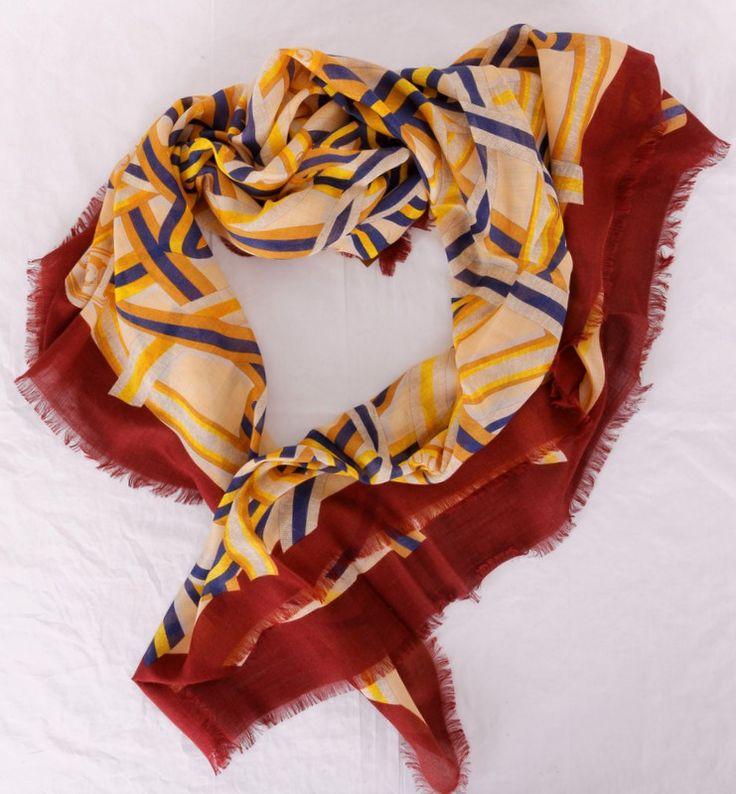 Палантин Gucci пашминовый теплый, желтый с коричневым. Размер 140x140cm #19946