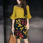 Mujer Simple Casual/Diario Verano T-Shirt Falda Trajes,Escote Redondo A Rayas Manga Corta 2017 - $11.39