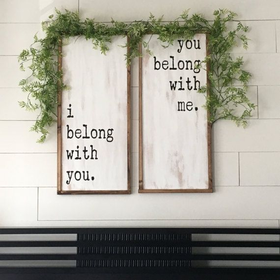 I Belong With You, You Belong With Me Set of 2 Painted Wood Signs // Bedroom Decor // Wedding // Anniversary // Farmhouse Decor // Rustic #affiliatelink