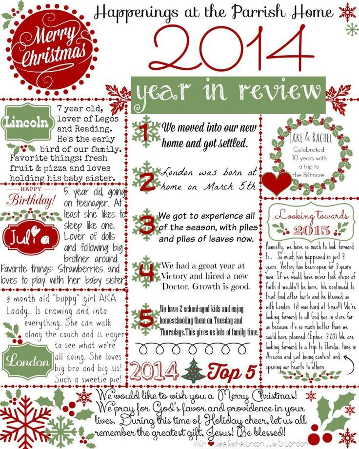 "Christmas Letter... Get your FREE ""2014 Year in Review"" Printable Template"