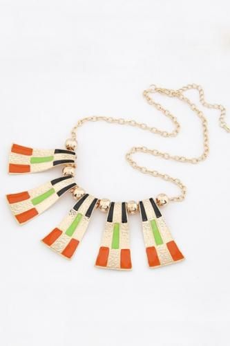 Colored Sector Shaped Pendant Necklace