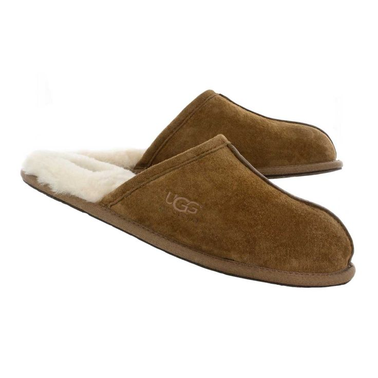 UGG Australia Men's SCUFF chestnut suede & sheepskin slippers 12-5776 CHE