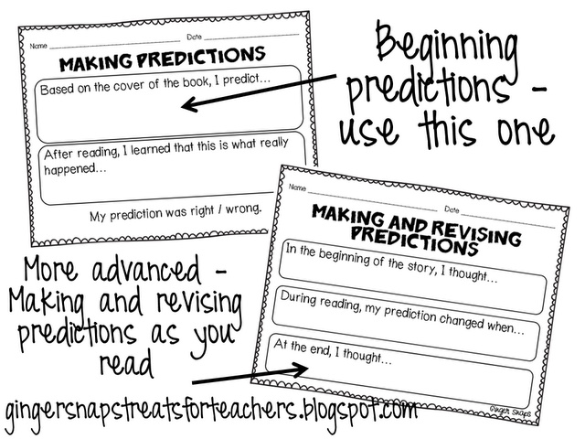 Making predictions worksheet: helps students to stay actively engaged throughout the reading process.  Great companion to independent reading assignments.