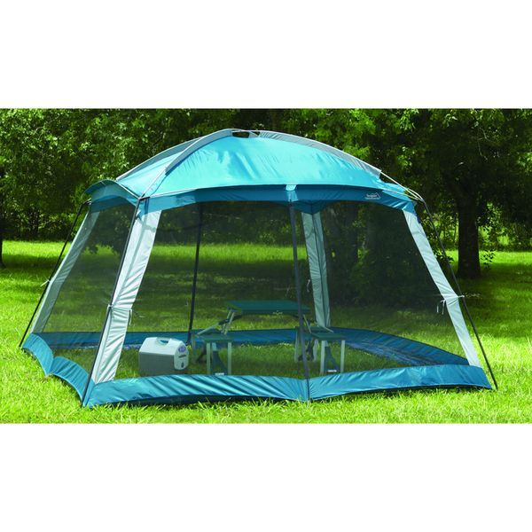 Texsport Montana screen arbor tent Camping equipment features a heavy-duty taffeta skin Outdoor gear with No-see-um mesh walls with two zippered entrances Tent has powdercoated 3/4-inch diameter chain
