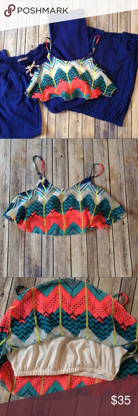 Crop top, beach pants, and maxi skirt set. Super cute and fun crop top, royal blue Maxi skirt, and royal blue roxy linen beach pants. Price is firm. Roxy Tops Crop Tops
