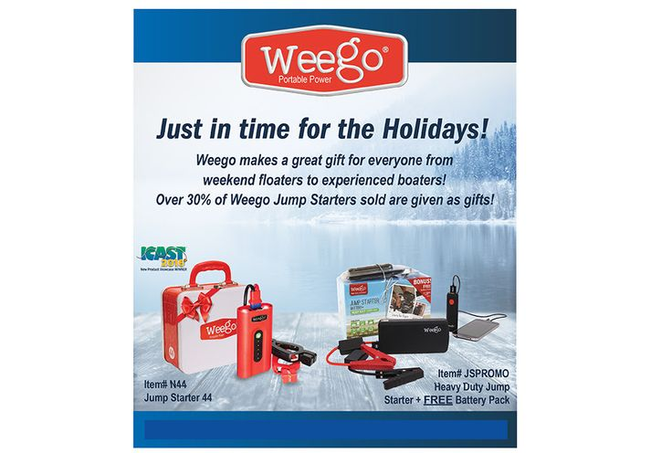 Weego - Portable Power Don't leave your loved ones stranded; give the gift of portable power! Weego Jump Starter Battery+ Heavy Duty along with a BONUS Rechargeable Battery Pack ensures that you all can stay powered while on-the-go. Our Holiday Bundle is a great gift for any Motorized Outdoor Enthusiast! Weego is perfect for fisherman, boaters, hunters, powersports fanatics, and anyone who drives a vehicle!Shop Now>Weego Jump Starter 44 Traditional Jumping Takes a Thumping! We...