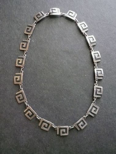 """Victoria Taxco Cony Greek Key Sterling Necklace Eagle 12  14"""" Long"""