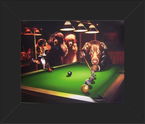 FRAMED Classic Dogs Playing Pool Poster High Quality Print RARE