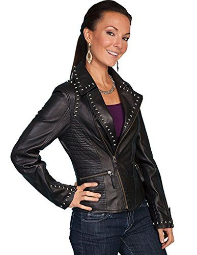 Scully Women's Studded Lamb Leather Motorcycle Jacket Black Small -- Click image to read more details. #WomensCoatsJacketsVests