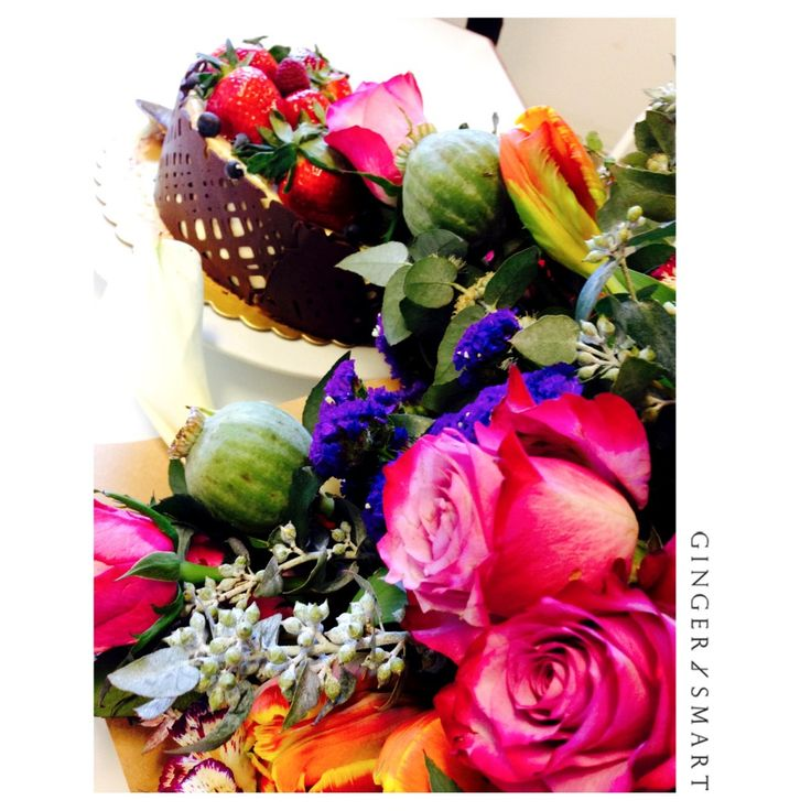 Birthday Flowers and chocolate cake