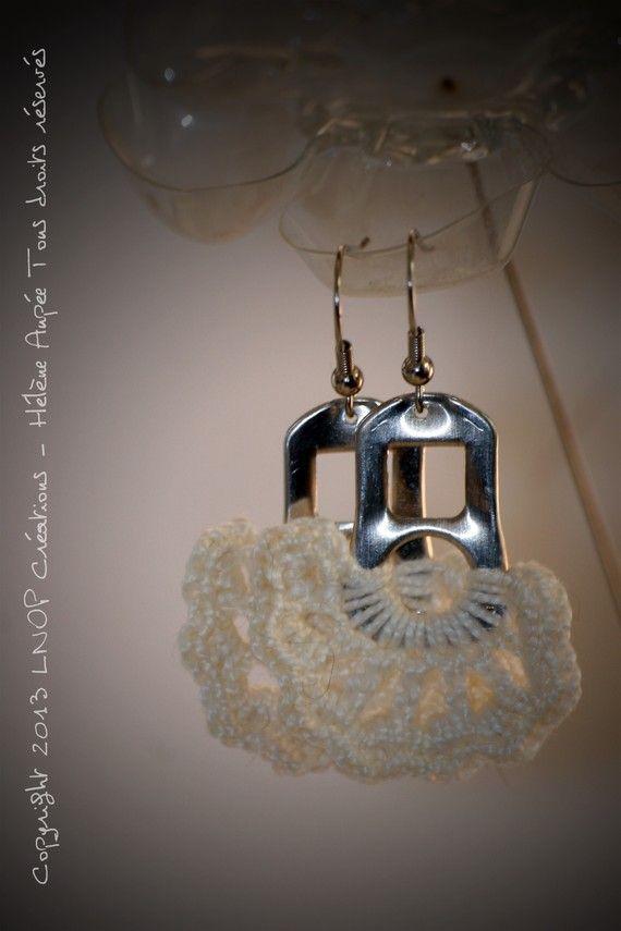 Boucles d'oreille languettes de canette crochet fleur Pure