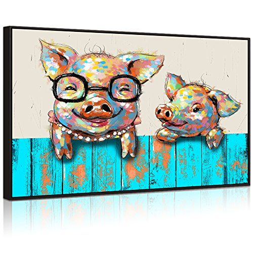 777117b9427 Visual Art Decor Large Animals Canvas Wall Art Lovely Pigs with Glasses Painting  Prints Picture for Kid s Room Contemporary Artwork Home Wall Decoration ...