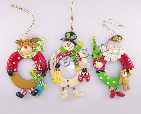 Polymer Clay Christmas Hanging Decoration, Mixed, 12x7.6x1.6cm, Sold by PC