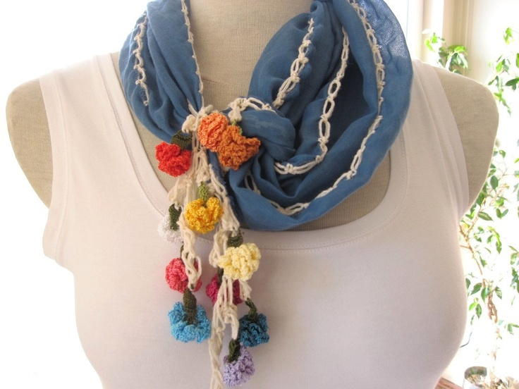 Blue Necklace cowl-headband- cotton gauze yemeni fabric with handmade crochet flower lace fringe scarf Turkish OYA womens scarves.