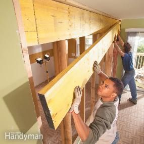 Open up cramped rooms by replacing a wall with a load-bearing beam. Create an open kitchen/dining area, a larger living room or a huge master bedroom using basic framing techniques and standard materials.