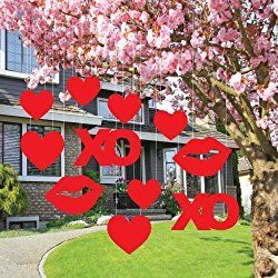 Valentineu0027s Lawn Decorations   Hanging Hearts, Kisses, And XOu0027s (Set ...