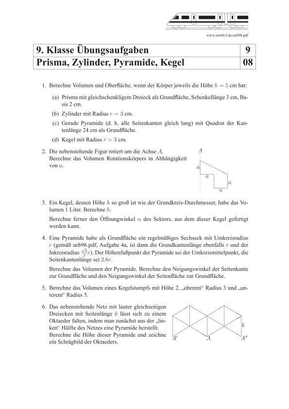 prisma zylinder pyramide kegel bungen und aufgaben mit l sungen matheaufgaben 9 klasse. Black Bedroom Furniture Sets. Home Design Ideas
