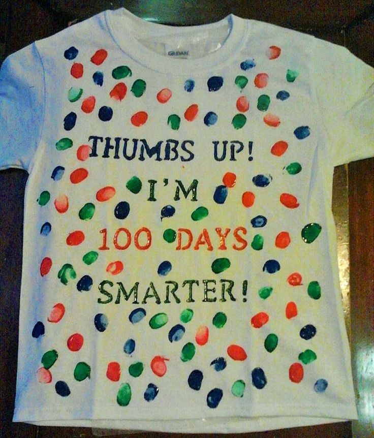 100th Day of School shirt.  Perfect project for Kindergarten age.  Customize with child's favorite colors of t-shirt paint.  All supplies purchased at Michael's for around $10 with no coupon.  Tip: put wax paper in between front and back to prevent bleed through/sticking.