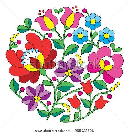 Kalocsai embroidery - Hungarian round floral folk pattern by RedKoala #minta #Hungary