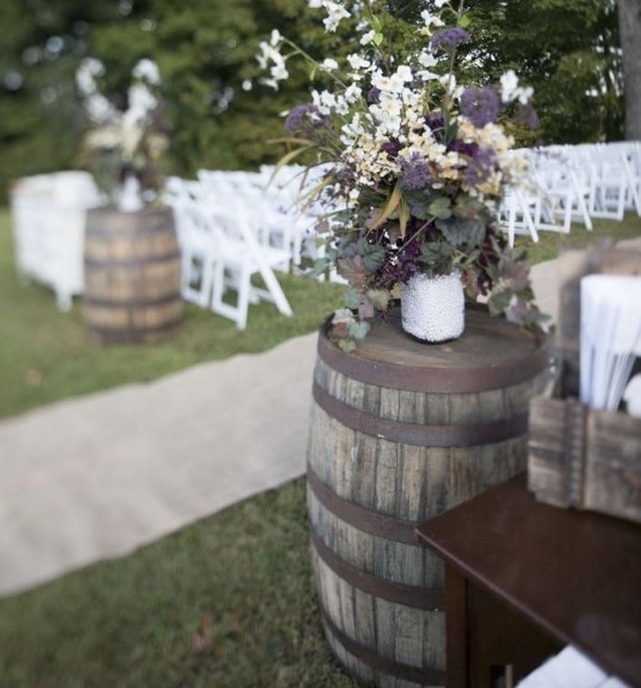 Wood barrels at weddings.