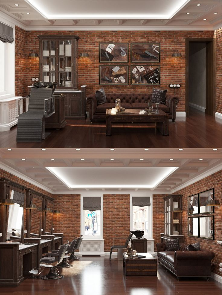 Wow! I could see this in my next house! Man Cave for brothers who. Barbershop  DesignBarbershop IdeasSalon ...