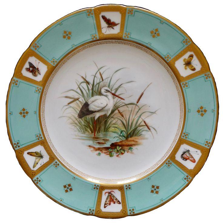 Minton cabinet plate, 1868 ミントン 手描きのコウノトリとエッチング金彩のキャビネットプレート 1868