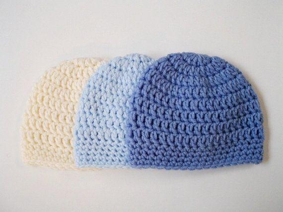 Baby boy Newborn hat Baby hat Crochet newborn hat by prettyobject