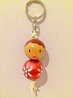 Key chain  Golden red flower girl by Littlegreenkoala on Etsy