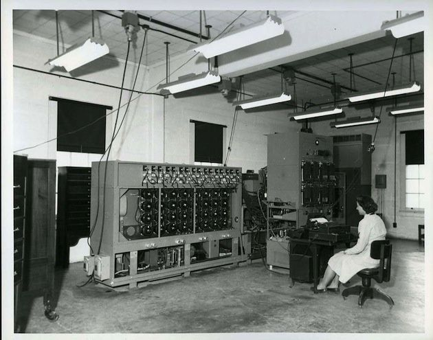 Bombe Operator, World War II. The Signal Intelligence Service cryptologists used a Bombe machine, developed in Britain, to decipher Nazi messages encoded by Germany's Enigma machine.