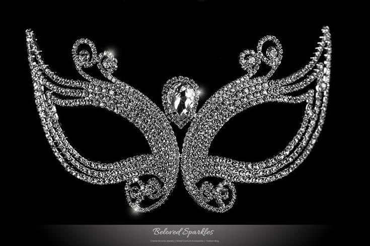 Cleo Art Deco Masquerade Mask   Crystal