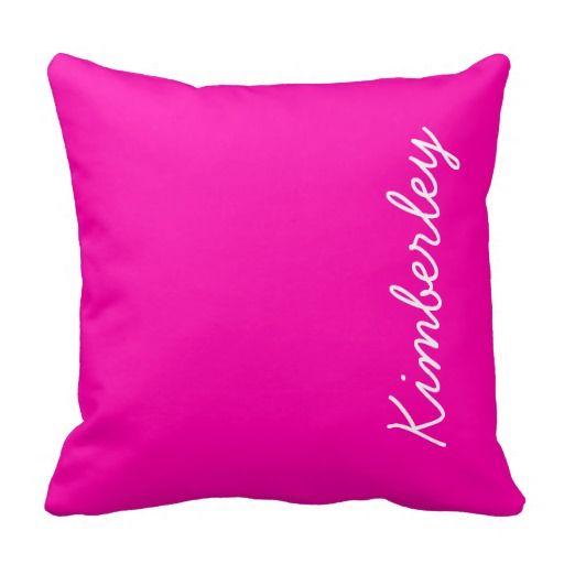 Colorful Pink Neon Monogram Trendy Fashion Colors Pillow