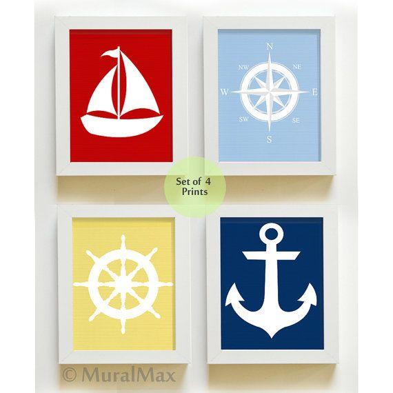 Nautical print set  4 art prints  Sailboat  Ships by MuralMAX, $48.00