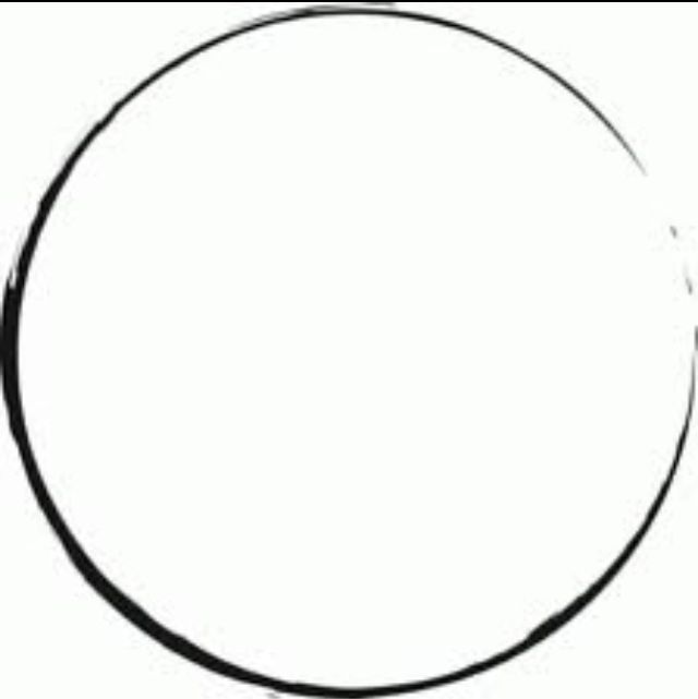 "Enso circle -- sort of like a coffee cup stain (symbolizes enlightenment, strength, elegance, the universe, and the void. It can also symbolize as an ""expression of the moment"" or the ""coffee cup ring"")"
