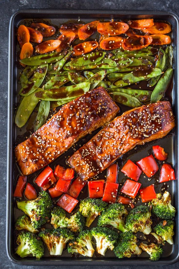 Salmon, broccoli, snow peas, carrots and bell peppers coated with teriyaki sauce and oven roasted to perfection. This quick and easy sheet pan dinner comes easily and makes a healthy low-carb dinne…
