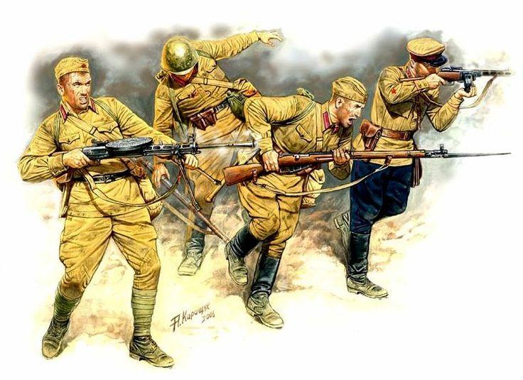 ARMATA ROSSA - Fanteria 1941 - Armamento fucile mitragliatore PPSh-41, fucile Mosin Nagan e mitragliatrice Degtyarev DP. Andrey Karashchuk. Box art Master Box