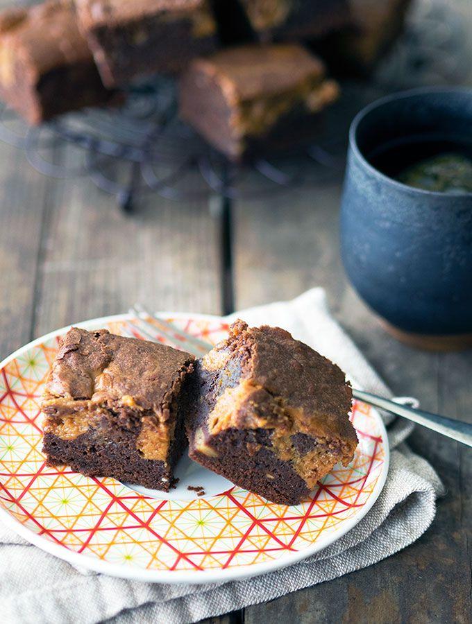 Chocolate Banana Brownies with lots of Dulce de Leche caramel sauce   www.bellyr…