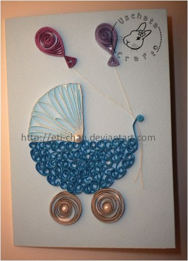 quilled baby carriage. Just made my mom a birthday card with a quilled flower on it..may have to make this for someone I know who is having a baby soon. So cute!