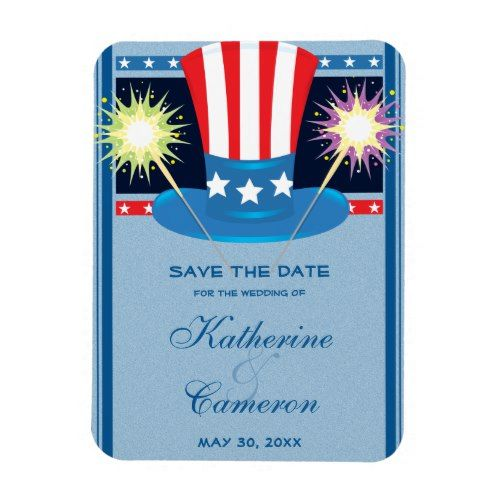 Patriotic Red White Blue Save The Date Wedding Magnet
