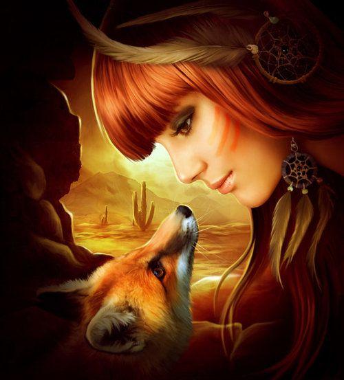 fox, girl, and art afbeelding