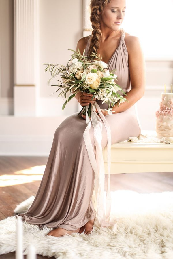 Trending Intimate Love Story Engagement in Blush Taupe and Gold Silk Wedding DressesDresses