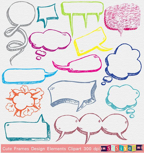 INSTANT DOWNLOAD Cute Hand Draw Bubble Speech by SasiyaDesigns