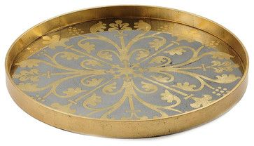 Moroccan Detail Tray - Gold - transitional - Accessories And Decor - Bliss Home & Design