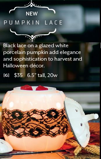 How can you resist this PUMPKIN LACE Warmer new from the Scentsy 2014 Fall Harvest Collection Flyer. $35.00 and for sale Sept 1. at https://smodden.scentsy.us