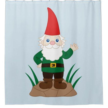 Funny Garden Gnome Shower Curtain - diy cyo customize gift idea personalize