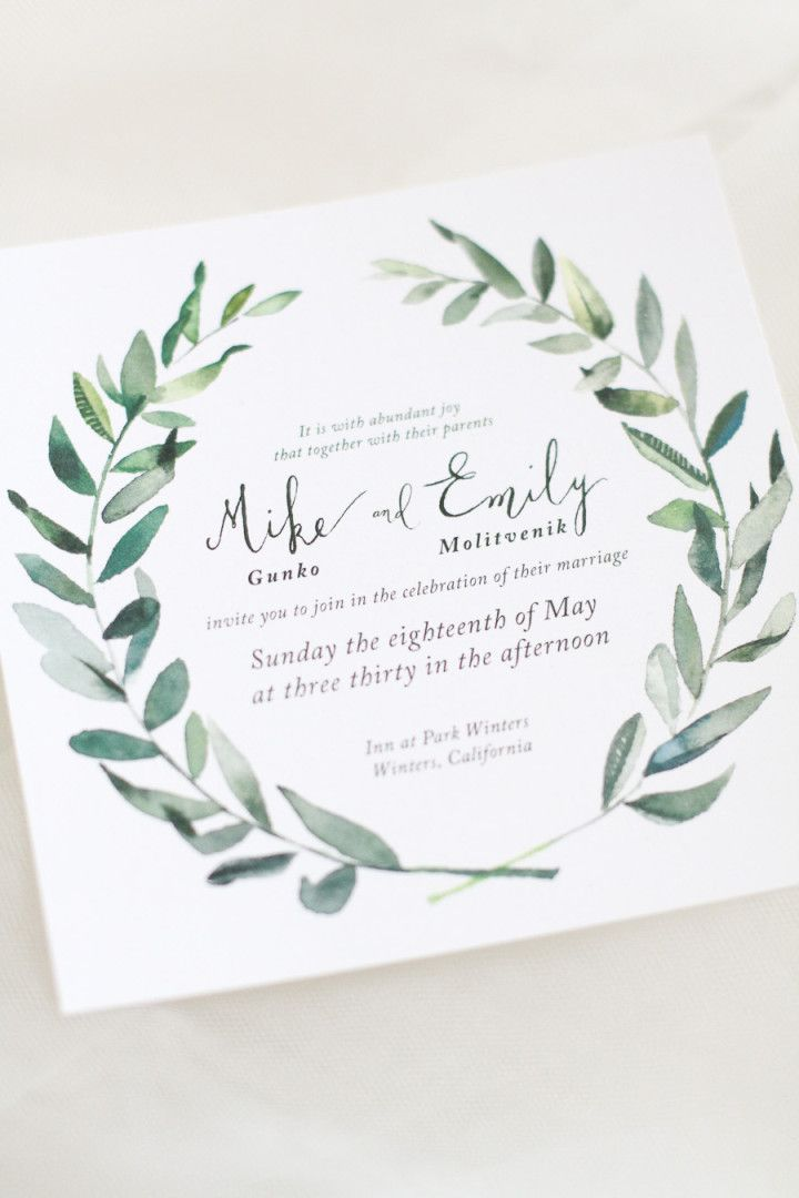hip green california wedding - Watercolor Wedding Invitations