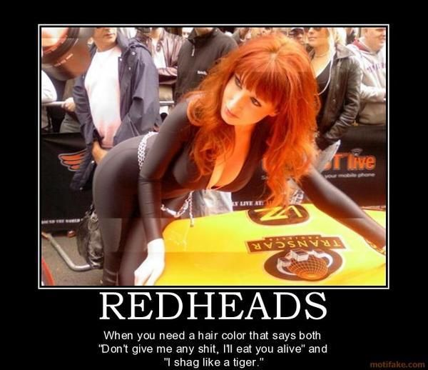 "#redheads: When you need a hair color that says both, ""Don't give me any shit, i'll eat you alive"" and ""I shag like a tiger"""