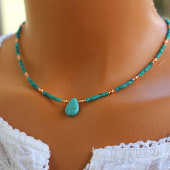 Türkis Halskette, Kupfer und Türkis Halskette, Boho chic Türkis Halskette, Frauen Perlenkette, minimalistische Türkis Halskette – Zarte ketten