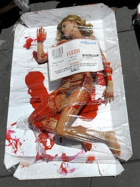 """Meet Is Murder"" campaign. Activists demonstrated that eating meat is the same as eating a corpse none much different then a human corpse. This is a use of shock advertisement to promote a vegetarian/vegan lifestyle.  http://www.forbes.com/sites/gyro/2012/07/17/the-ethics-and-efficacy-of-shock-ads/"