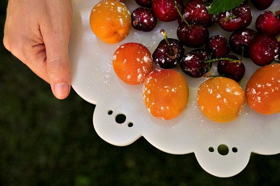 Handcrafted ornated marble serving platter by Marblellous