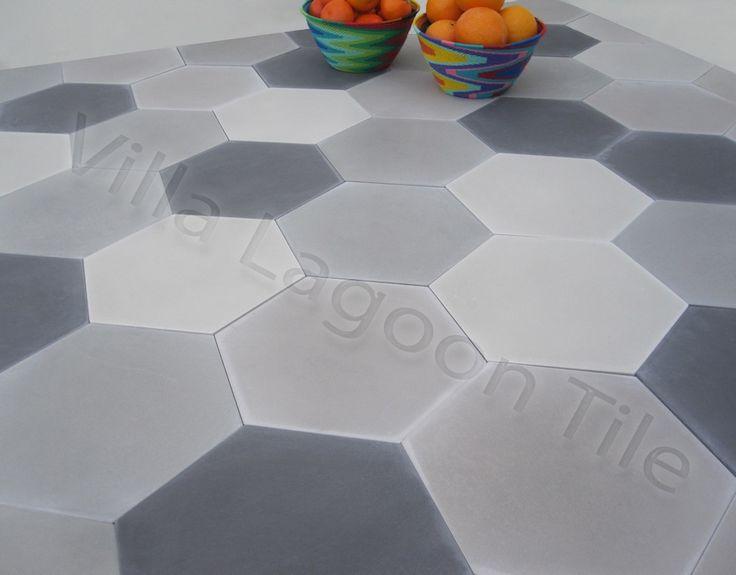 carreau ciment - Mixed Gray Hex Tiles - 20x23 - 5,94$/tile